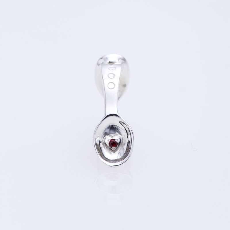 SILVER SPOON BABY RING WITH BIRTHSTONE - JANUARY -
