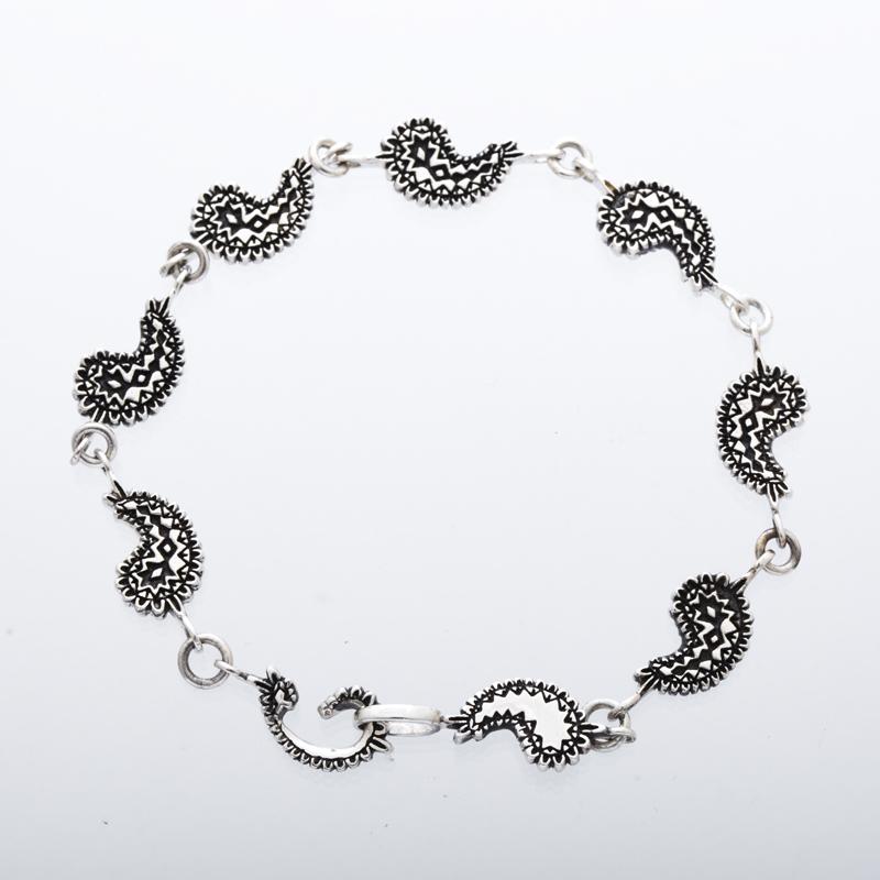 metal paisley bracelet silver