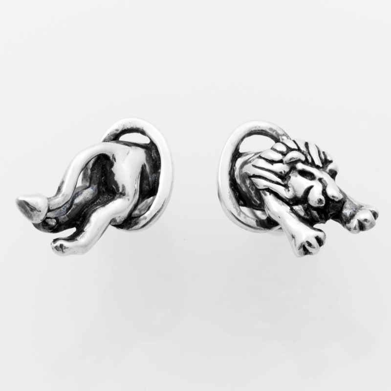 LION pierced earrings silver