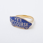 YES OF COURSE ring gold -blue-