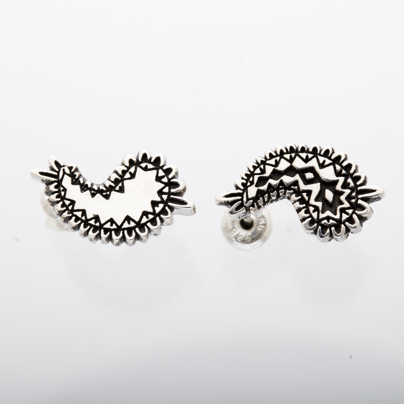 metal paisley pierced earrings silver