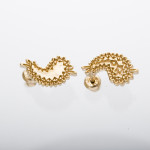 metal paisley pierced earrings gold