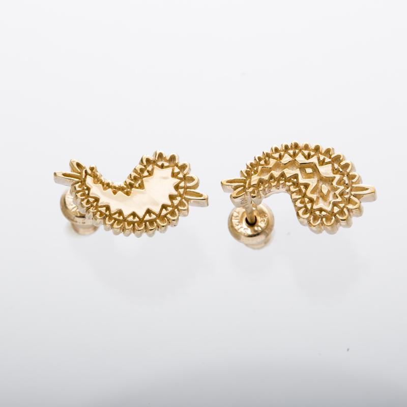 metal paisley pierced earrings gold