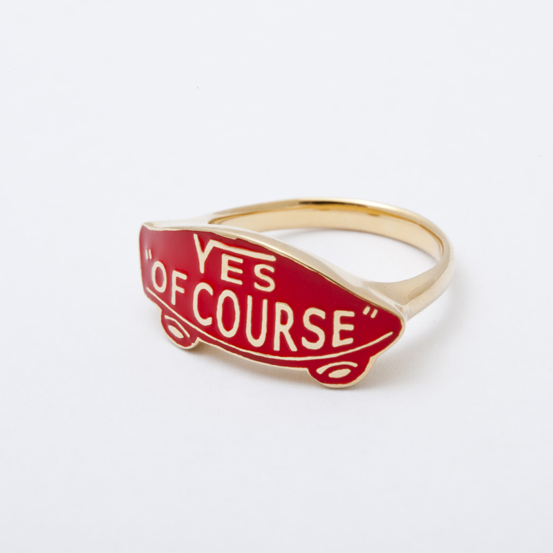YES OF COURSE ring gold -red-