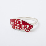 YES OF COURSE ring silver -red-