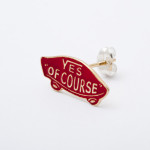 YES OF COURSE pierced earrings gold -red-