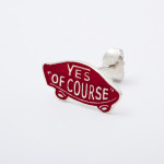 YES OF COURSE pierced earrings silver -red-