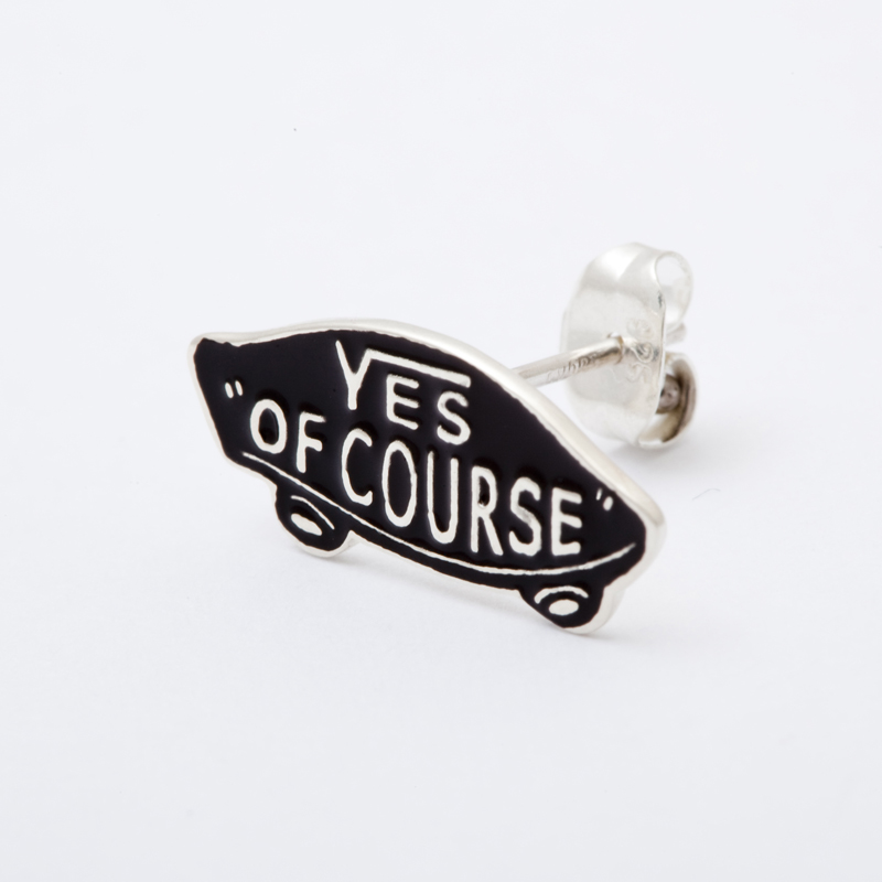 YES OF COURSE pierced earrings silver -black-