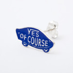 YES OF COURSE pierced earrings silver -blue-