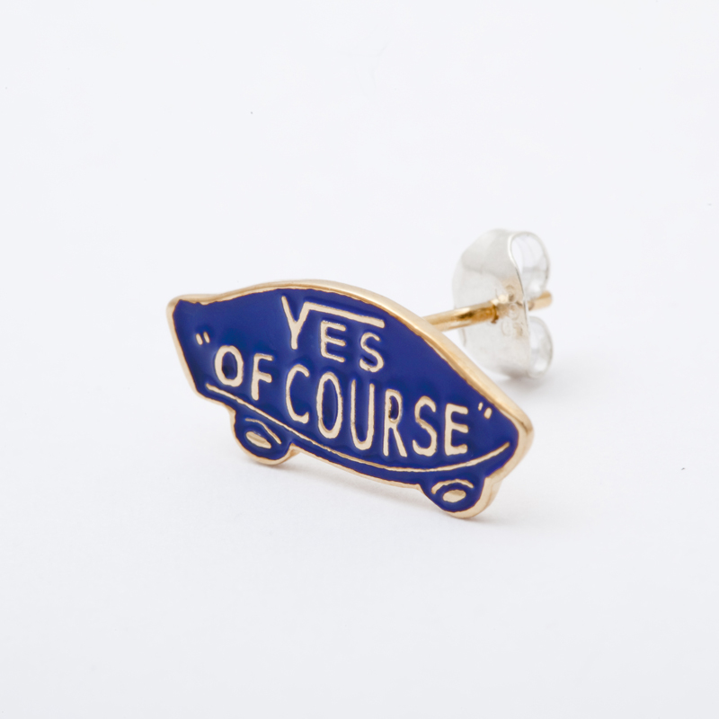 YES OF COURSE pierced earrings gold -blue-